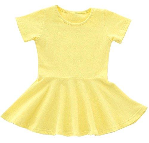lymanchi Baby Girl Dresses Short Sleeve Toddler Girl Ruffle Infant Cotton Cute Dress Yellow 12/18M ()