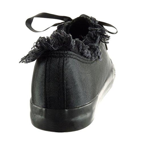 Lacet Femme Baskets Talon Ruban Semelle Effiloché Cm Satin Mode 2 Angkorly Noir Basket Plat Chaussure wXEYcq1