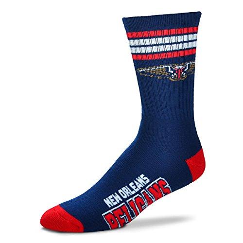 fan products of For Bare Feet NBA 4 Stripe Deuce Crew Men Socks-New Orleans Pelicans-Large (10-13)