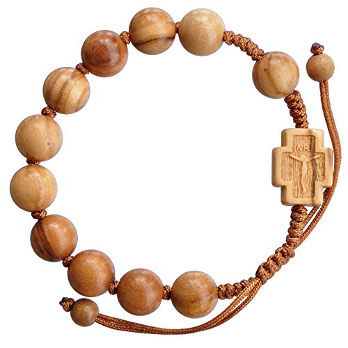 Olive Wood Adjustable 10mm Rosary Bracelet