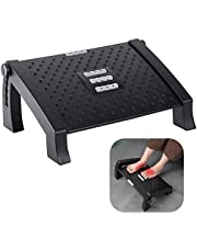 VIVOUNITY Adjustable Under Desk Footrest - Ergonomic Foot Rest with Massage Texture and Roller, Foot Stool with 6 Adjustable Height Position, Tilting Foot Stool Adjustment for Home, Office, Train