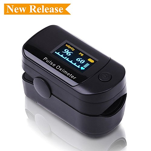 Healva SpO2 Pulse Oximeter Fingertip Blood Oxygen Monitor - Portable Finger Oxygen Saturation Monitor withm Rotatable OLED, Carrying Case & Lanyard Included