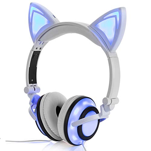 - Headphone Cat Ear Headset,Chargeable LED Light Foldable Adjustable Earphones for Kids Teens Adults, Compatible for Ipad,Tablet,Computer,Mobile Phone MP3 LX-R107 (White)