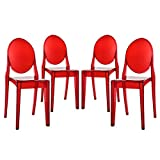LexMod Casper Dining Chairs Set of 4 in Red