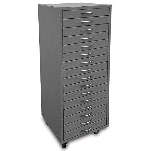 Ikee Design Grey Fabric Eyewear Display and Storage Cabinet with Swivel Wheels, Include 16 Trays, Each Tray Hold 12 Frames. Total for 192 Frames