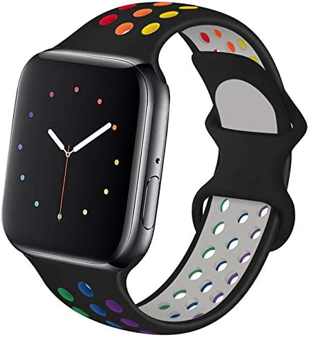 Hotflow Compatible with Apple Watch Band 42mm 44mm,Soft Silicone Sport Wristband for iWatch Series 6, Series 5, Series 4, Series 3, Series 2, Series 1,SE, S/M,Black-Colorful