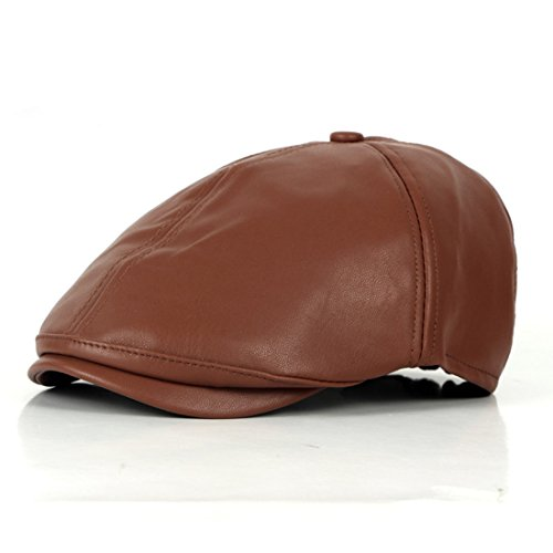 WAZZIT 6 Panel Leather Newsboy Hats Solid Ivy Irish Cabbie Caps Driver Beret Hat - Red-Brown (Dyed Twill Pigment Solid Cap)