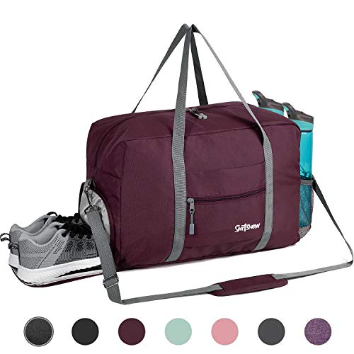 Sports Gym Bag with Wet Pocket & Shoes Compartment, Travel Duffel Bag for Men and Women Lightweight, Wine Red