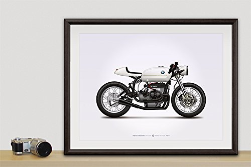 GarageProject101 BMW R75/5 Cafe Racer Motorcycle Illustration Poster Print 18x24 Horizontal -