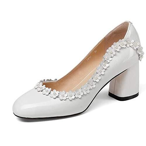 Spring Leather White Mujer Chunky Negro ZHZNVX Heel de Tacones Zapatos Blanco Comfort Nappa IgXTnqxBwU