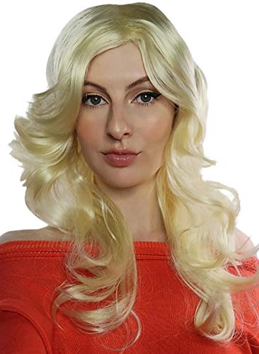 ALLAURA Womens 70s Wig Long Blonde Feathered Flick 70's Disco Costume ()