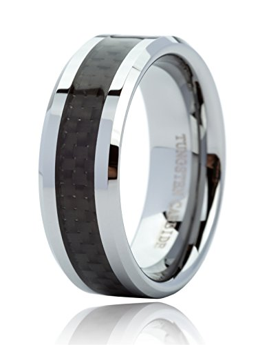 Just Lsy 8mm Tungsten Carbide Ring Black Carbon Fiber Inlay Wedding Band Comfort Fit Mens Womans Size 8 Lsy-014