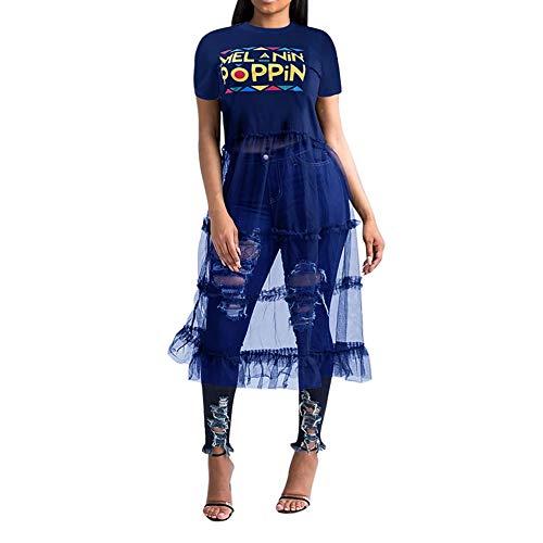 Womens Sexy Mesh See Through Short T-Shirt Dress Letter Print Mini Dress Party Clubwear Blue