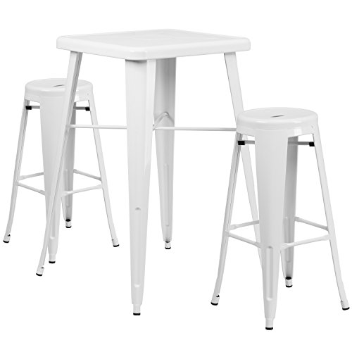 Flash Furniture 23.75'' Square White Metal Indoor-Outdoor Bar Table Set with 2 Round Seat Backless Barstools by Flash Furniture