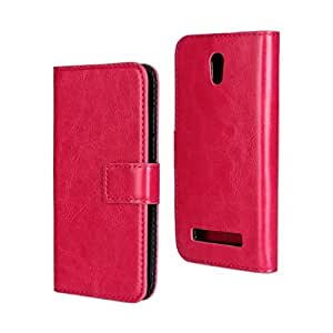 HongRD(TM) Solid Color PU Leather Stand Wallet Double Layers Protective Cover Case With Business Card Slots For HTC Desire 500 + One Stylus Pen (Rose Pink)