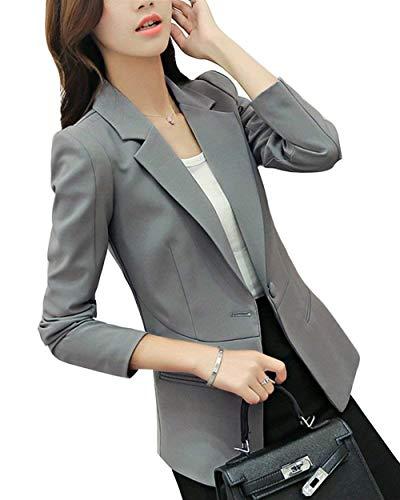 Fit Casual de Costume Femme Automne Elgante Grau Vetement Basic Party Revers Fashion Manteau Blouson Office Printemps Affaires Unicolore Veste Blazer Manches Longues Slim 6HOUHwq