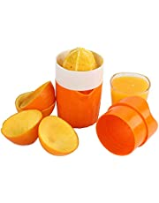 PREMIUM QUALITY Hand Orange Juicer Squeezer Manual with Strainer and Container, 2 Cups
