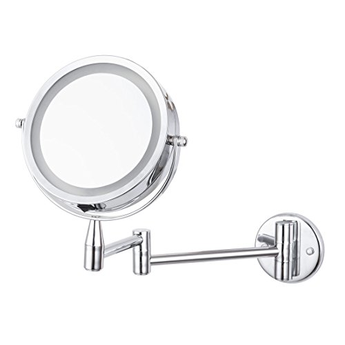 Led-Cosmetic-Mirror-Wall-Mounted-Double-Side-1X3X-Magnification-Adjustable-Rotating-Function-Stainless-Steel-Lighted-Vanity-Mirror-Powered-by-4-x-AAA-batteries-not-included