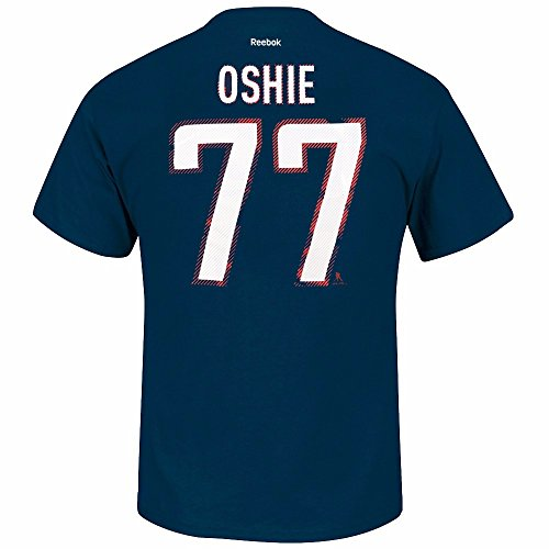 "T.J Oshie Washington Capitals NHL Reebok Men Navy Blue Player Name & Number ""Freeze"" Jersey T-Shirt (2XL)"