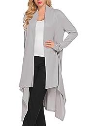 Women's Long Sleeve Open Front Asymmetric Draped Maxi Cardigans Plus Size