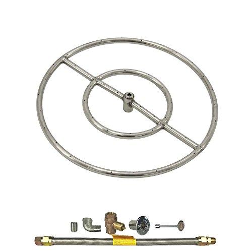 Spotix HPC Round Fire Pit Burner Kit (FPS18KIT-NG-MSCB), 18-Inch Burner, Match Light, Natural Gas