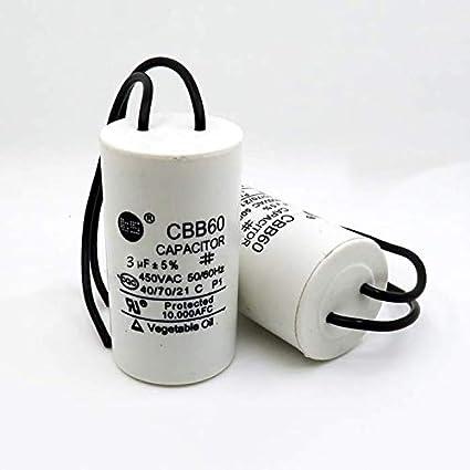450 V, 50//60 Hz, 2 cables CBB60 3uF Condensador para motor de corriente alterna