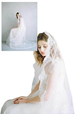 "Passat Single-Tier 90""/120""Cascading french lace train Wedding veil DB132"