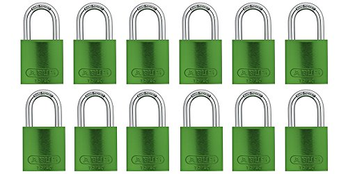 (ABUS 72/40 Aluminum Safety Padlock Green Keyed Alike - 12 Pack)