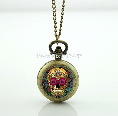 (Pretty Lee Flower Giant Cutout Pocket Watch Floating Memory Locket Necklace Antique Pocket Watch Necklace)