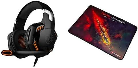 Cascos Gaming Krom Kyus -Nxkromkys- Auriculares con Micrófono, Sonido 7.1, Altavoces 50Mm, Negro + Mars Gaming Mmp1 Alfombrilla Gaming para Pc (con Cualquier Ratón Medium/ 35 X 25 Cm)