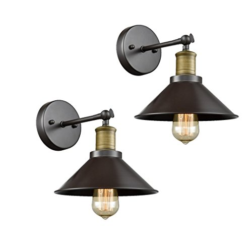 CLAXY Ecopower Industrial LED Simplicity Wall Sconce 2 Pack, Oil Rubbed Bronze Finish by CLAXY