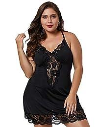 BLMFAION Sexy Satin Lingerie Dress Sets Silk Sleepwear S-5X