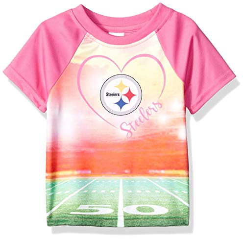 NFL Pittsburgh Steelers Baby-Girls Short-Sleeve Tee, Pink, 12 Months