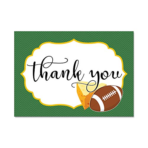 Set of 12 Thank You Notes and Envelopes with Green Bay Wisconsin Packers Football Cheese in Green and Gold TYTS8005