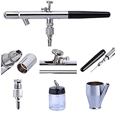 LeeMas Inc Airbrush Kit Dual/Single Action Siphon Gravity Feed Set for Nails Tattoo Hobbies Commercial Arts Illustrations Photo Retouching