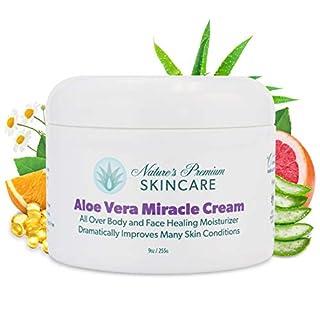 Organic Natural Aloe Vera Cream - Body Cream - Aloe Face Moisturizer Miracle Cream - 9 oz - Skin Care For Dry Skin, Anti Wrinkle, Acne Scars, Rosacea, Eczema Cream - Anti Aging Cream For Men & Women