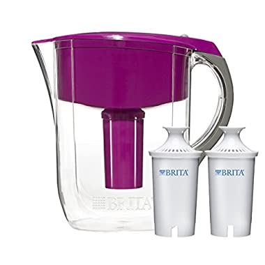 Brita 10 Cup Violet Grand Water Filter Pitcher with 2ct Filter