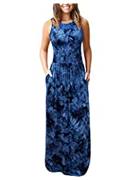 LANISEN Women's Fashion Sleeveless Loose Tie Dye Casual Maxi Party Dresses with Pockets