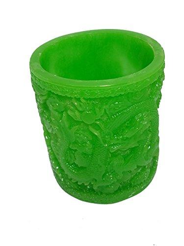 Green Faux Jade Bamboo Vase/Pen Holder Dragon or Tiger (Dragon) Dragon Vase