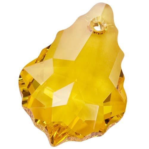 Topaz Swarovski Crystal Pendant (Swarovski Crystal, #6090 Baroque Pendant 22x15mm, 1 Piece, Light Topaz)