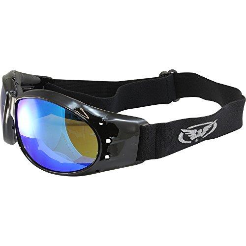 Global Vision Eliminator G Tech Motocycle Goggles Black Frames Blue Lens