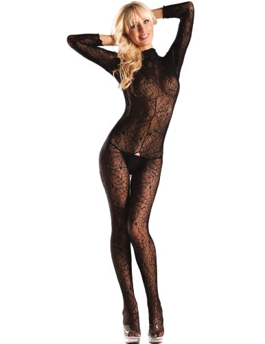 Long Sleeve Spiderweb Bodystocking (Red;One - Sleeve Long Spider Web