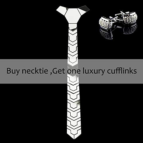 CEKINF Alta Tecnología Silver Mirror Necktie Men Slim Fashion ...