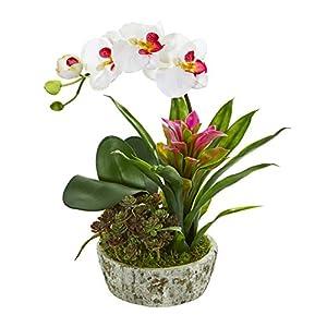 Artificial Flowers -Orchid Bromeliad Succulent White Purple Arrangement-Planter 69
