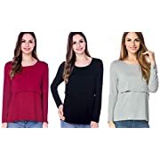 Bearsland Women's Maternity Nursing Tops Modal Comfy Long Sleeve Breastfeeding Clothes, Black+gray+red(3pcs), Large