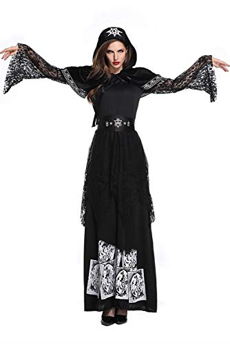 Mutrade Womens Grim Reaper Costume Ghost Demon Lace Robe Halloween Cosplay Dress,XLarge]()