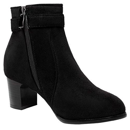 AIYOUMEI Damen Winter Chunky Heel Stiefeletten mit 5cm Absatz und Schnalle Blockabsatz Ankle Boots Schwarz