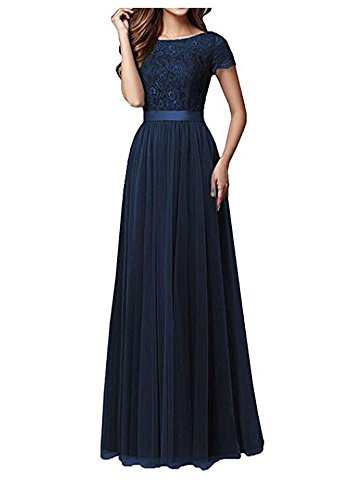 Ak Beauty Navy Lace Top Long Bridesmaid Dresses Short Sleeves Chiffon Wedding Party Gown Navy Us2
