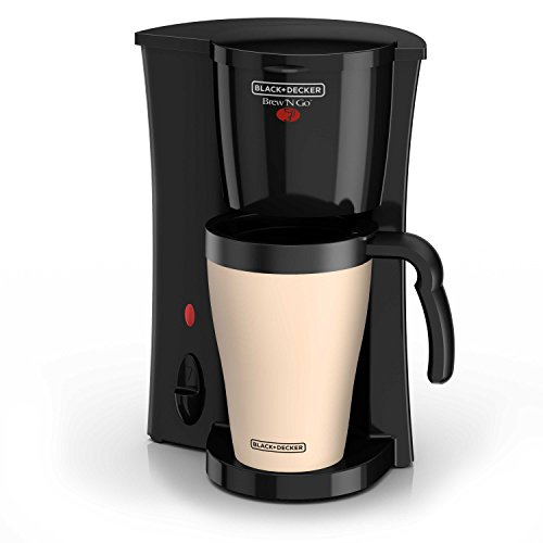 (BLACK+DECKER Brew 'n Go Personal Coffeemaker with Travel Mug, Black/Beige, DCM18)