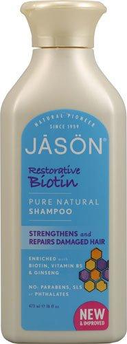 2 Packs of Jason Pure Natural Shampoo Restorative Biotin - 16 Fl Oz ()